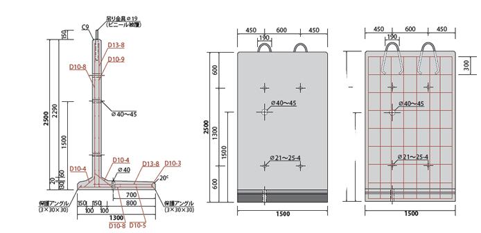 高さ2500コンクリート用壁の図面