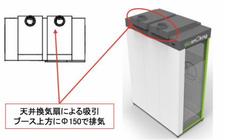 天井換気扇による吸引ブース上方にΦ150で排気