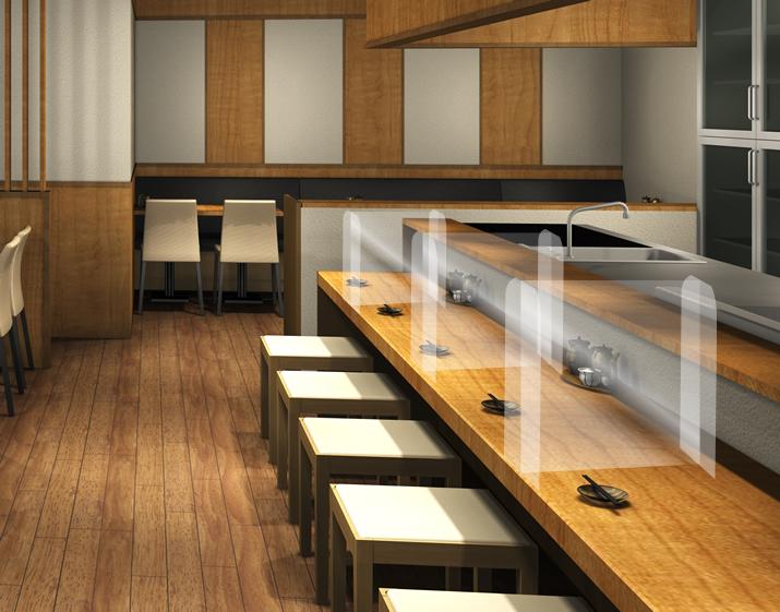 透明プラスチックパーテーション 設置イメージ:Sサイズ