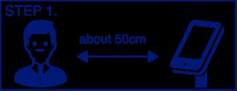 0.5秒で検温!測定方法