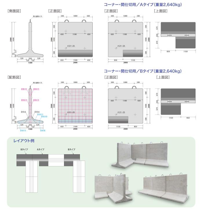 コンクリート擁壁 風荷重 左右対象タイプ