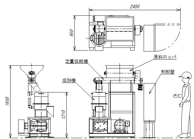 木質ペレット製造装置の図面