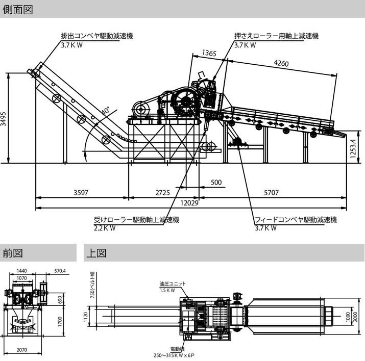 発電用 切削チップ製造機 (ドラムチッパー式)の図面