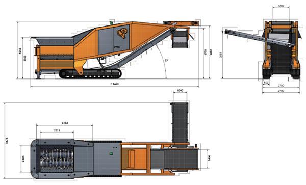 自走式 二軸破砕機 ARJES(アリエス)VZシリーズの図面