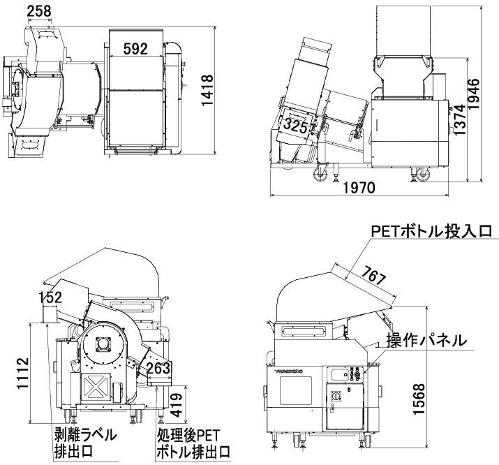 ペットボトル ラベル剥離・分別機の図面