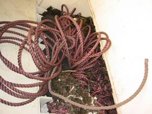 破砕前のロープ・魚網