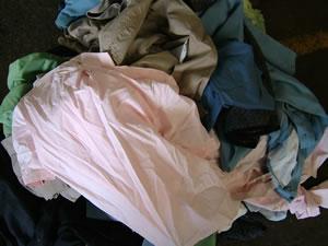 破砕前の衣類