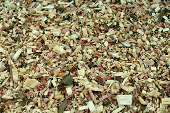 木材の粉砕チップ