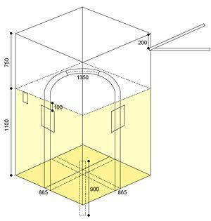 角型フレキシブルコンテナバッグ 1t(反転あり・UVあり)図面