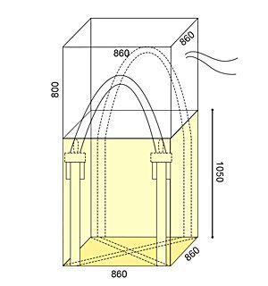 角型フレキシブルコンテナバッグ 1t(反転なし・UVあり)図面