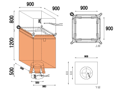 米・麦・農業用 Fタイプ 角型 ロープタイプ 食品衛生法適合