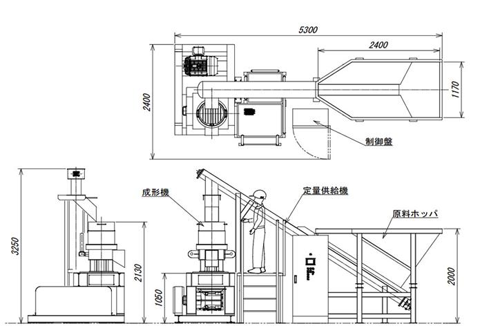 バイオマスペレット成形機設置例