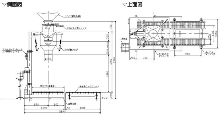 フレキシブルコンテナバッグ 計量機・側面図、上面図