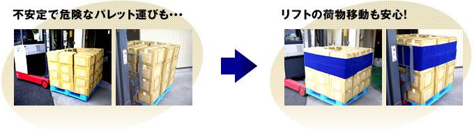 不安定で危険なパレット運びも・・・  リフトの荷物移動も安心!