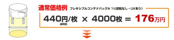 通常価格(フレキシブルコンテナバッグA 1t(反転なし・UVあり) 4000枚の場合